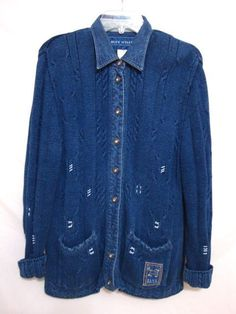 Blue Willi's Denmark Cardigan Denim Rhinestone Button Sweater Fisherman Medium #BlueWillis #Cardigan