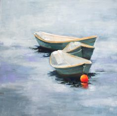"""Dories 3"" by Ellen Welch Granter. 20"" X 20"", Oil on Panel. Available at www.maine-art.com"