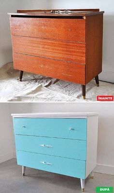 vintage dresser before and after with découpage dresser drawers, updated with Benjamin Moore paint and spay painted hardware. Pallet Furniture Easy, Recycled Furniture, Colorful Furniture, Furniture Projects, Furniture Makeover, Cool Furniture, Furniture Design, Modern Furniture, Rustic Furniture
