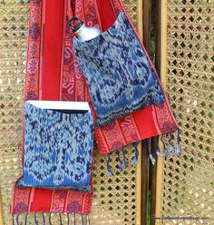 Party Pocket Scarf Hand Woven Ikat Pockets by SiameseDreamDesign