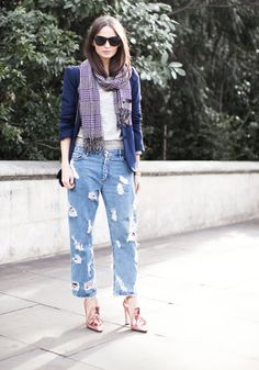 I'm a huge denim fan and these Acne denims are just fabulous in combination with the metallic shoes!