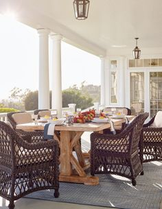 Our Hampton Dining Collection has a relaxed, Southern attitude, intricately handwoven in driftwood-weathered resin wicker. You'll enjoy alfresco meals more as you unwind in thickly cushioned dining chairs. Nearly 8 feet long, the washed teak dining table is perfect for large gatherings of family and friends.
