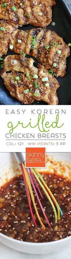 Korean Grilled Chicken Breasts – juiciest most flavorful chicken breasts you'll ever make![EXTRACT]Korean Grilled Chicken Breasts – juiciest most flavorful chicken breasts you'll ever make! Tandori Chicken, Asian Recipes, Healthy Recipes, Thai Recipes, Mexican Food Recipes, Easy Korean Recipes, Healthy Grilled Chicken Recipes, Recipes Dinner, Lunch Recipes