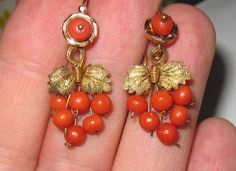 Victorian Coral Bead Earrings In Grape And Leaf Motif Mounted In Yellow Gold