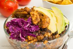 The classic flavors of enchiladas meets healthy, plant-based deliciousness in this simple, savory Vegan Enchilada Bowl recipe. Vegan Enchiladas, Vegan Mexican Recipes, Bowls, Cabbage, Chicken, Vegetables, Healthy, Serving Bowls, Veggie Enchiladas