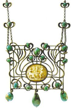 Art nouveau. Pendant necklace, around 1915, by Marie Bedot-Diodati (1866-1958). Silver, Cameo, turquoises set in a closed bezel