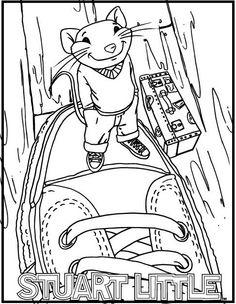 Stuart Little Standing On Top Shoes Coloring Picture For Kids