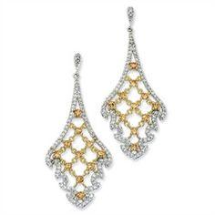Silver Cubic Zirconia Dangle Earrings - Sterling Silver Citrine CZ Dangle Post Earrings
