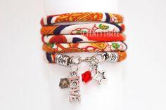 "JAPANESE Chirimen Cord bracelet, named  ""Orange Mum & Ume"", Wrap BRACELET, with charms and SWAROVSKI crystals"