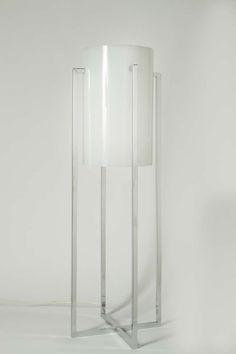 Paul Mayen; Chromed Metal and Acrylic Table Lamp, 1970s.
