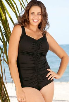 32235b83b3718 (Limited Supply) Click Image Above  Chlorine Resistant! Maxine Black Plus  Size Shirred Girl Leg Swimsuit