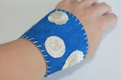 Blue Suede Polka Dot Leather Cuff Bracelet with Vintage Mother-of-Pearl Buttons - OOAK