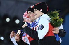 Mikael Kingsbury (L-R) Silver medalist Mikael Kingsbury of Canada, gold medalist Alex Bilodeau of Canada and bronze medalist Alexandr Smyshl...