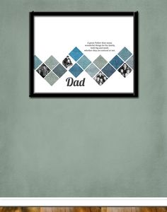 Dad Photo Collage With Favourite Quote Custom Fathers Day Gift For Husband Personalized Birthday Present Grandpa Geometric Print Wall Art