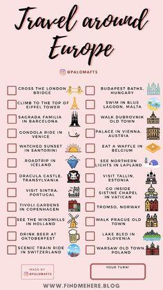Travel Checklist, Travel List, Travel Goals, Free Travel, Travel Guides, Bucket List Destinations, Travel Destinations, Europe Bucket List, Vie Motivation
