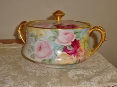 Limoges France Antique Porcelain Covered Urn-Vase-Bowl Gorgeous ~Roses~