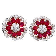 VAN CLEEF & ARPELS Camellia Platinum, Diamond and Ruby Ear Clips, ca. 1990