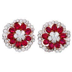 VAN CLEEF & ARPELS Camellia Platinum, Diamond and Ruby Ear Clips, ca. 1990