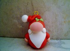 Santa  Polymer Clay  Holiday Ornament by countrycupboardclay