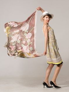 Smoke roses hand painted scarf. Silk shawl painted. Pale pink bouquet of flowers painted on silk scarf. Hand painted scarf. Long scarf shawl