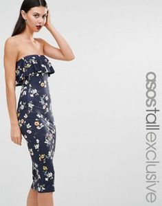 db7185c84e ASOS TALL Ruffle Print Bandeau in Navy Floral Fashion Online