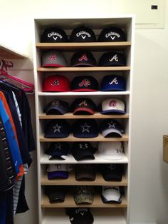 Hat shelf or rack for baseball caps.  Go Braves and Cowboys!