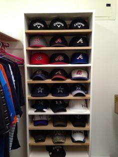 Hat shelf or rack for baseball caps.  Go Braves and Cowboys!