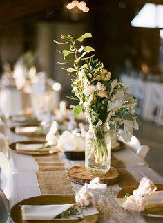 Wedding Centerpieces by FH Weddings and Events-Wishing Well Barn Wedding-Wedding Barn- Photo: The Ganeys-Central Florida Wedding Blog-Orange Blossom Bride-www.orangeblossombride.com