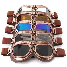 3b6a8bda20 Vintage Pilot Helmet Steampunk Copper Motorcycle Scooter Helmet Glasses  Goggles Anti UV steampunkgoggles  steampunk