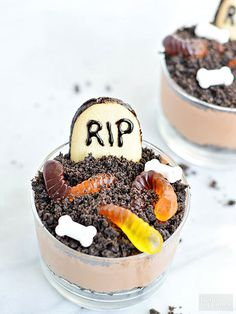 Your little goblins will love decorating these chocolate mousse cups with edible bones, gummy worms, and headstone cookies!