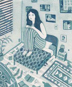 rachel levit #illustration #art #graphic #girl #bed