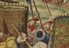 Orley,Bernaert (1492-1542) Seven large tapestries illustrate the Battle of Pavia in 1525,in which Emperor Charles V.defeated French King Francois I.Two soldiers hide behind the gabions.