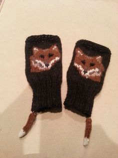 """my red fox fingerless mitts.  modification of pattern on Ravelry.com """"woodland association."""""""