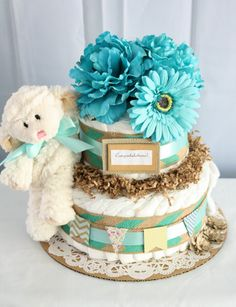 Turquoise and Burlap Diaper Cake by MckayCakesnCrafts on Etsy