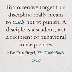 Too often we forget that discipline really means to teach, not to punish. A disciple is a student, not a recipient of behavioral consequences.