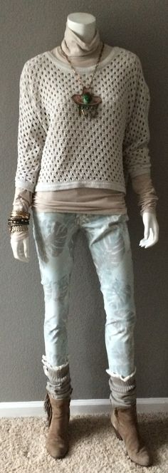 Daily Look: Obviously feeling the muted tones this week, this one goes out to my CAbi sisters and clients in colder climates:  CAbi Spring '15 Paradise Cropped Super Skinny Jean with super vintage Oyster Turtleneck and last spring's Seaside Pullover. #tropicalpunch #cabiclothing