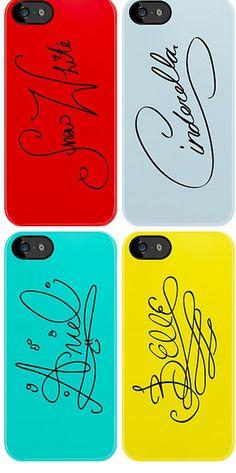 Disney Princess' autographs on iPhone cases