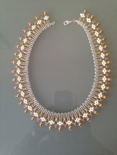 Handmade Necklace with Gold Pearls and White SuperDuo Beads