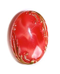 Button ~ Glass Vintage Red Oval Moonglow Small by KPHoppe on Etsy