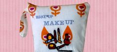 Small makeup pouch with embroidery