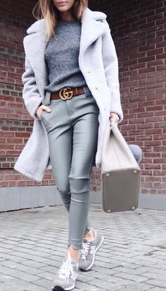 #fall #fashion · Grey Coat & Sweater // Green Leather Pants // Sneaker