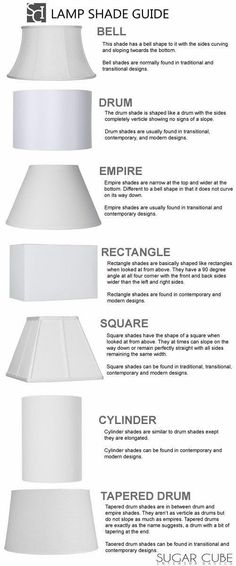 Nothing strictly modern! If we want to design lampshades this could be a good guide! Lamp Shade Styles