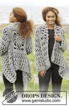 "Stony Ridge / DROPS 173-31 - Crochet DROPS jacket worked in a square in ""Cloud"". Size S-XXXL. - Free pattern by DROPS Design"