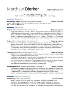 real software engineering internship resume template
