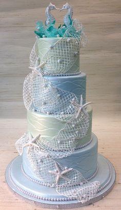 Beach theme wedding cake with sugar lace/net , #thecakezone , www.thecakezone.com