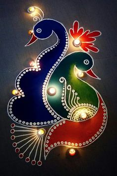 Collection of peacock rangoli designs. Peacocks are the national bird of indian and festivals will beautiful with peacock rangolis Rangoli Designs Peacock, Easy Rangoli Designs Diwali, Rangoli Simple, Simple Rangoli Designs Images, Rangoli Designs Latest, Small Rangoli Design, Colorful Rangoli Designs, Rangoli Patterns, Diwali Diy
