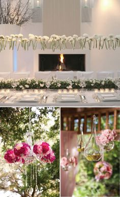 The whites on whites against the clean greens are so refreshing. Love the effect of dangling a bed of flowers over the dinner table!