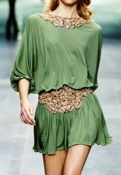 Green mini dress with gold accents....Positively Beautiful Blog
