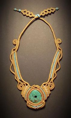 Macrame jewelry necklace with turquoise centerpiece by Mabutirat