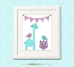 Purple and aqua baby girl Nursery Art Print - 8x10 - Children wall art, giraffe, owl, birds, flag, teal, lilac, lavender - UNFRAMED